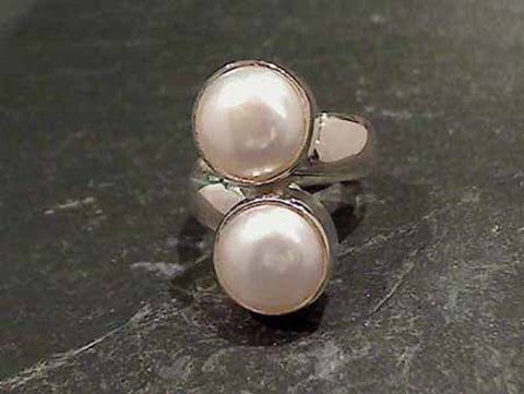 Pearl, Fine Sterling Ring - Adjustable
