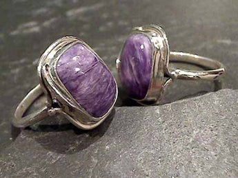 Size 5 Charoite, Sterling Silver Ring