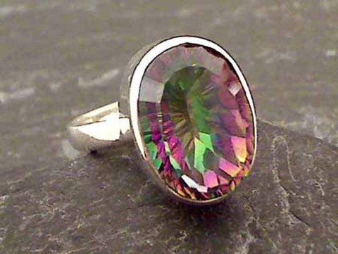 Size 6 Mystic Quartz, Sterling Silver Ring