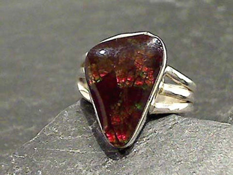 Size 6.75 Ammolite, Sterling Silver Ring