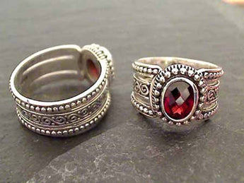 Size 6 Garnet, Sterling Silver Ring