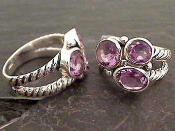 Size 9 Amethyst, Sterling Silver Ring