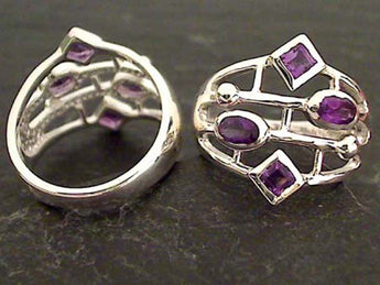 Size 6.75 Amethyst, Sterling Silver Ring