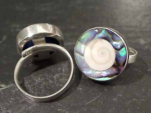 Adj up to Size10 Shiva's Eye, Abalone Ring
