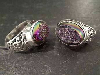 Size 8.25 Druzy Quartz, Sterling Silver Ring