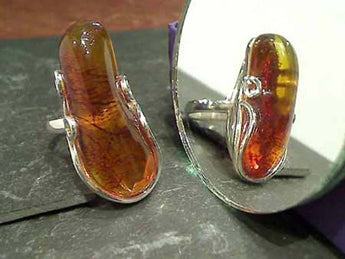 Size 9.75 Amber, Sterling Silver Ring