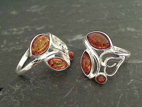 Size 8.25 Amber, Sterling Silver Ring