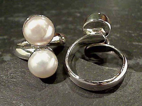 Pearl, Sterling Ring, Adj Size 5mm Band