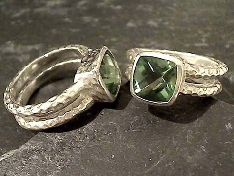Size 8 Green Quartz, Sterling Silver Ring