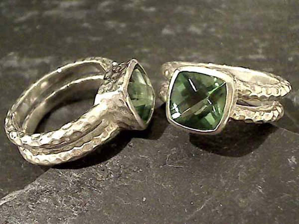 Size 7 Green Quartz, Sterling Silver Ring