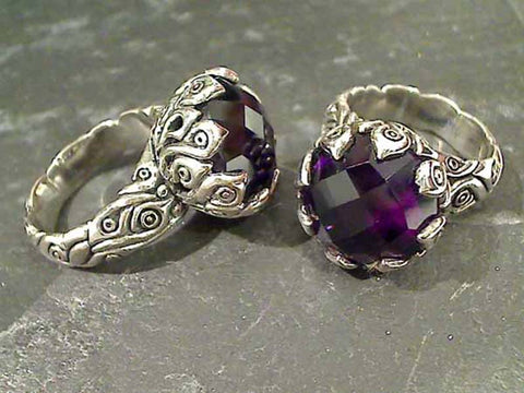 Size 7.5 Amethyst, Sterling Silver Ring