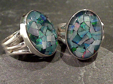 Size 8.5 Opal Mosaic, Sterling Silver Ring