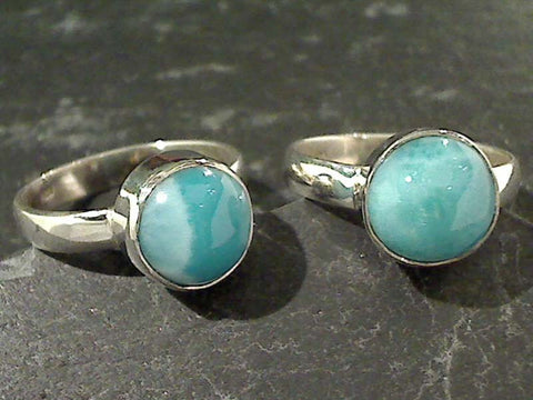 Size 7.75 Larimar, Sterling Silver Ring