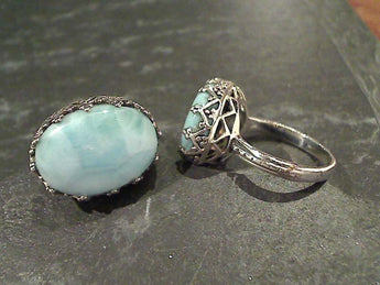 Size 6.75 Larimar, Sterling Silver Ring