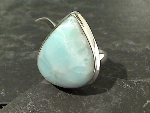 Size 8.5 Larimar, Sterling Silver Ring