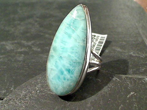 Size 8 Larimar, Sterling Silver Ring
