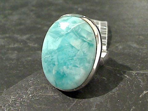 Size 7.25 Larimar, Sterling Silver Ring