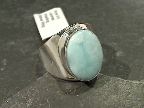 Size 9.5 Larimar, Sterling Silver Ring