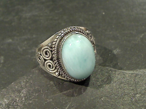 Size 9.25 Larimar, Sterling Silver Ring