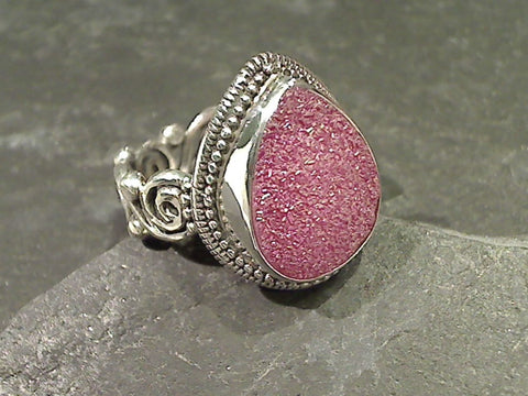 Size 8 Druzy Quartz, Sterling Silver Ring