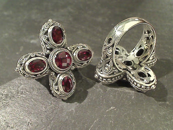 Size 7 Garnet, Sterling Silver Ring