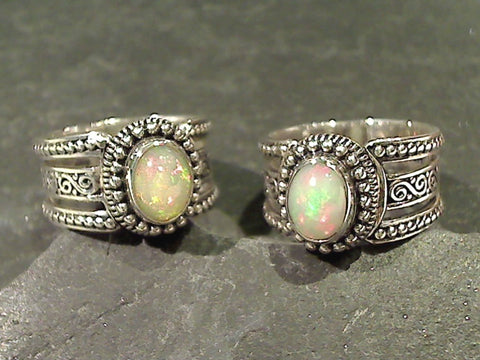 Size 7 Ethiopian Opal, Sterling Silver Ring