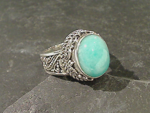 Size 6 Amazonite, Sterling Silver Ring