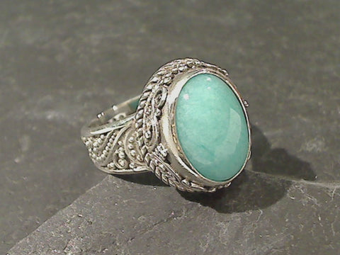Size 7 Amazonite, Sterling Silver Ring