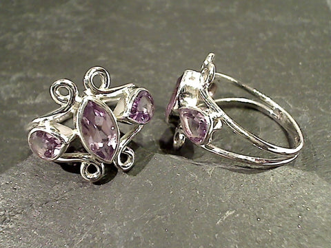 Size 10 Amethyst, Sterling Silver Ring