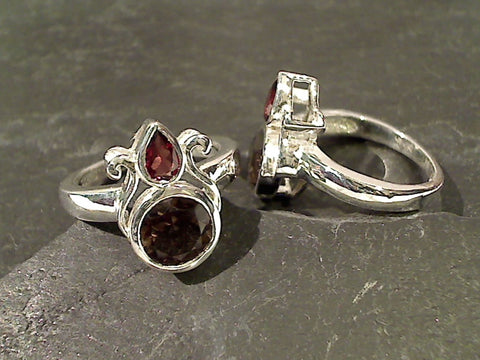 Size 7.75 Smokey Quartz, Garnet, Sterling Ring