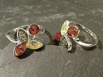 Size 7 Amber, Sterling Silver Ring