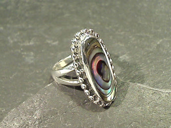 Size 6 Abalone, Sterling Silver Ring
