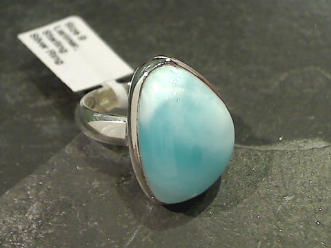 Size 9 Larimar, Sterling Silver Ring