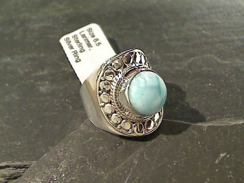 Size 6.5 Larimar, Sterling Silver Ring
