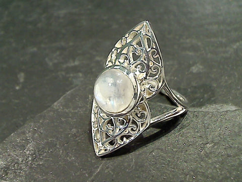 Size 7 Moonstone, Sterling Silver Ring