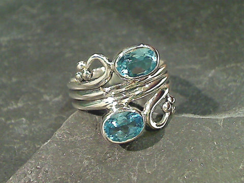 Size 8 Blue Topaz, Sterling Silver Ring