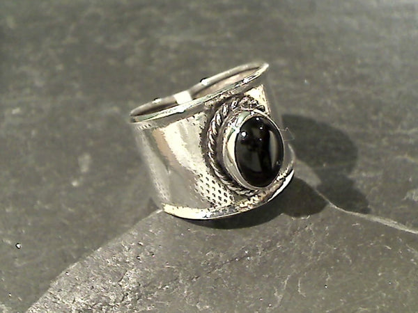 Size 6 Onyx, Sterling Silver Ring