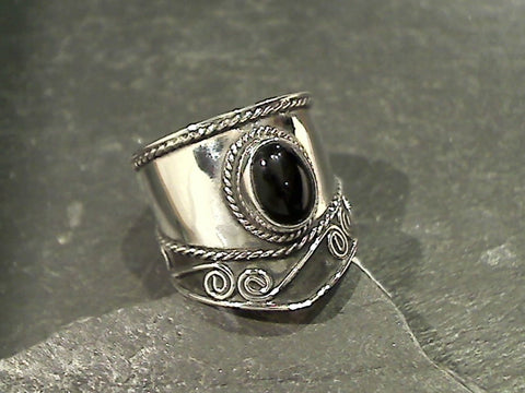 Size 8 Onyx, Sterling Silver Ring