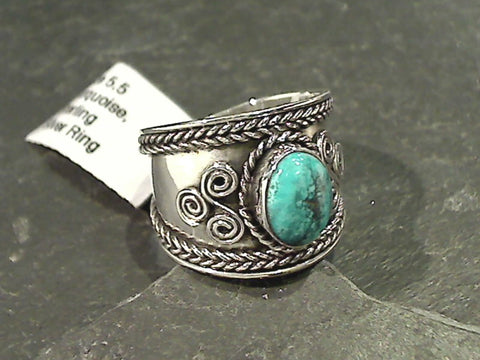 Size 5.5 Turquoise, Sterling Silver Ring