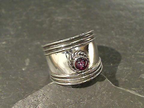 Size 6.5 Garnet, Sterling Silver Ring