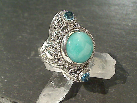 Size 7 Amazonite, Blue Topaz, Sterling Ring