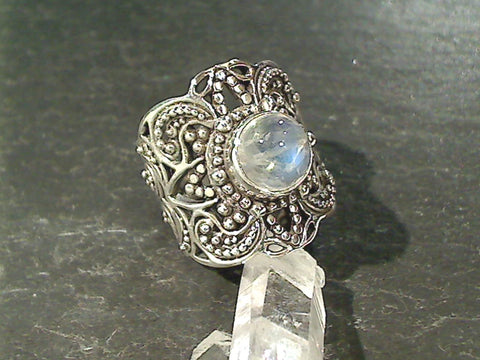 Size 8 Moonstone, Sterling Silver Ring