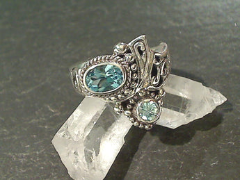 Size 8 Blue Topaz, Blue Zircon, Sterling Ring