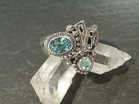 Size 9 Blue Topaz, Blue Zircon, Sterling Ring
