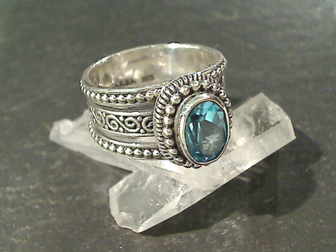 Size 7 Blue Topaz, Sterling Silver Ring