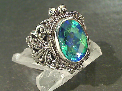 Size 8 Rainbow Quartz, Sterling Silver Ring