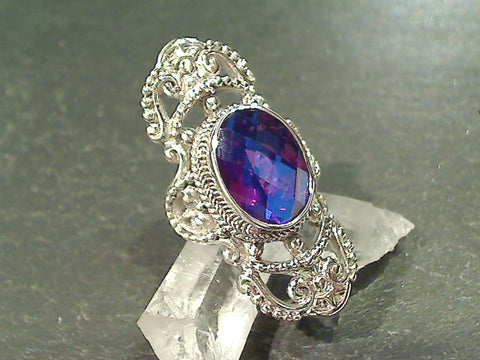 Size 7 Rainbow Quartz, Sterling Silver Ring