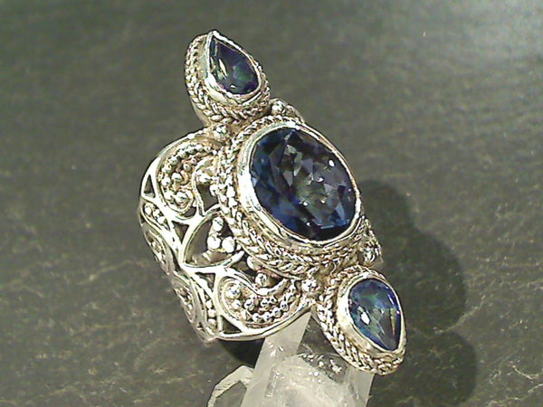 Size 7 Mystic Quartz, Blue Quartz Ring