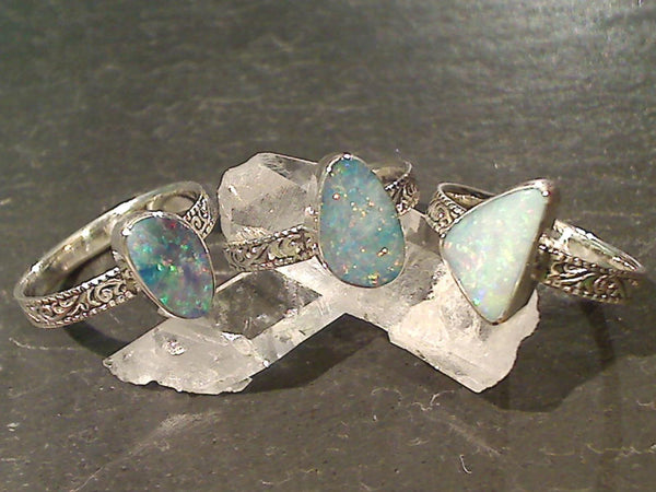 Size 8 Opal Dublet, Sterling Silver Ring