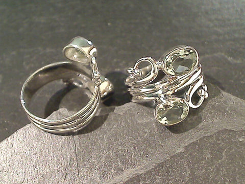 Size 9 Green Amethyst, Sterling Silver Ring
